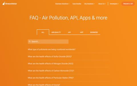 Screenshot of FAQ Page breezometer.com - FAQ - Air Pollution, AQI, Business & Company Info | BreezoMeter - captured March 11, 2017
