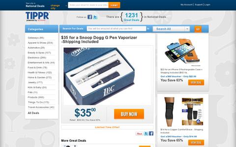 Screenshot of Home Page tippr.com - Tippr.com - Atlantic City Deal of the Day | Coupons | Restaurants, Spas & more - captured July 11, 2014