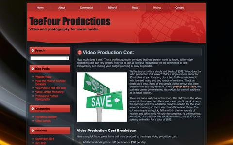 Screenshot of Pricing Page teefourproductions.com - Video Production Cost | TeeFour ProductionsTeeFour Productions - captured Oct. 7, 2014
