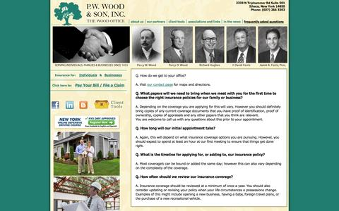 Screenshot of FAQ Page thewoodoffice.com - Frequently Asked Questions - P.W. Wood & Son, Inc. P.W. Wood & Son, Inc. - captured Oct. 1, 2014