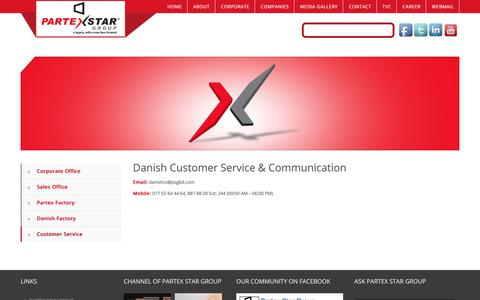 Screenshot of Support Page partexstargroup.com - Customer Service | Partex Star Group Corporate - captured May 14, 2017