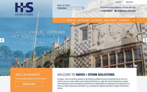 Screenshot of Home Page hayesandstorr.co.uk - Hayes + Storr | North and West Norfolk Solictor - captured July 21, 2017