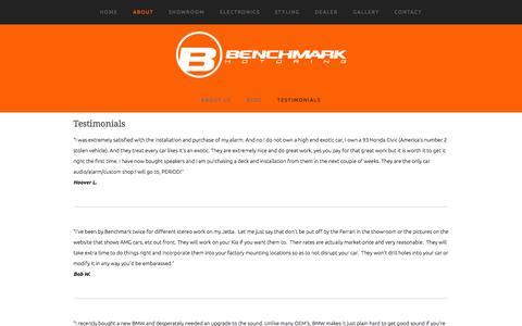 Screenshot of Testimonials Page benchmarkmotoring.com - Testimonials — Benchmark Motoring - captured Sept. 30, 2014