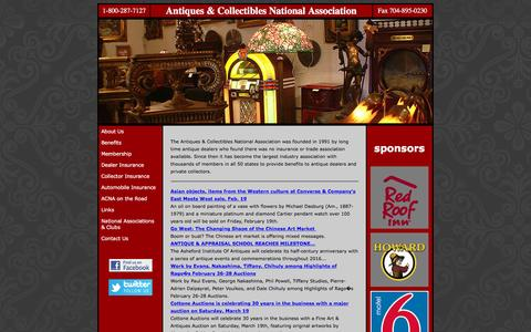 Screenshot of Home Page acna.us - Antiques & Collectibles National Association - Insurance for Antique and Collectible Dealers and Collectors - captured Feb. 6, 2016