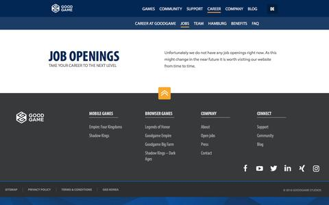 Screenshot of Jobs Page goodgamestudios.com - Job openings - Goodgame Studios - captured Oct. 15, 2016