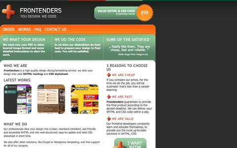 Screenshot of Home Page frontenders.com - Frontenders.com: XHTML & CSS slicing service - captured Oct. 11, 2018