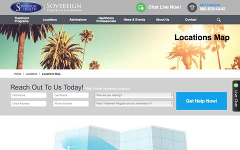 Screenshot of Locations Page sovcal.com - Dual Diagnosis in California | Sovereign Health CASovereign Health Group - captured Oct. 23, 2017