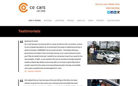 Screenshot of Testimonials Page co-cars.co.uk - Testimonials - Co-carsCo-cars - captured Sept. 20, 2017