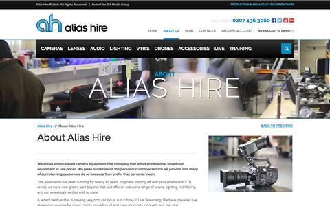 Screenshot of About Page aliashire.co.uk - About Alias Hire - Broadcast Equipment Hire - Rental | Alias Hire - captured July 6, 2018