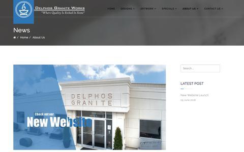 Screenshot of Press Page delphosgraniteworks.com - Delphos Granite Works - News - captured Aug. 6, 2018