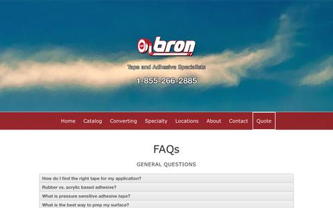 Screenshot of FAQ Page brontapes.com - FAQs - Bron Tapes - captured Jan. 7, 2016