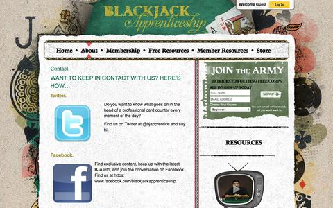 Screenshot of Contact Page blackjackapprenticeship.com - Contact - Blackjack Apprenticeship Card Counting Resources - captured Sept. 23, 2014