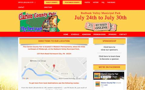 Screenshot of Maps & Directions Page clarioncountyfair.com - Driving Directions | Clarion County Fair | Redbank Valley Municipal Park | New Bethlehem PA - captured Jan. 24, 2017