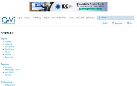 Screenshot of Site Map Page globalwaterintel.com - Global Water Intelligence - captured Nov. 10, 2018