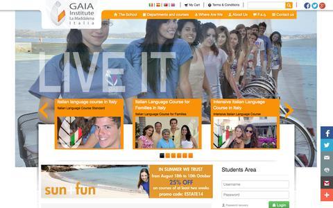 Screenshot of Home Page gaiainstitute.com - International Institute GAIA: Study holidays in Italy, Sardinia - captured Sept. 29, 2014