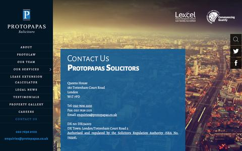 Screenshot of Contact Page protolaw.co.uk - Contact Us - Protopapas Solicitors - captured Feb. 2, 2016
