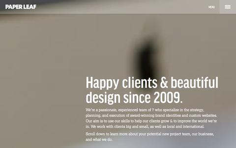 Screenshot of About Page paper-leaf.com - About Paper Leaf | Logo Design Edmonton - captured Oct. 30, 2014