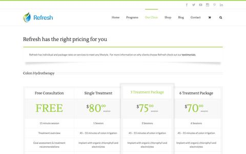 Screenshot of Pricing Page refreshnaturalhealth.com - Pricing - Refresh Natural Health - captured Nov. 5, 2014