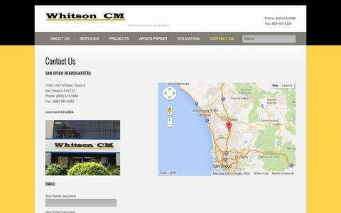 Screenshot of Contact Page whitsoncm.com - Contact Us - Whitson Construction - captured Jan. 10, 2016