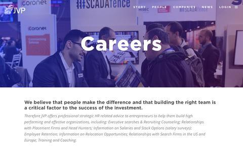 Screenshot of Jobs Page jvpvc.com - Careers – JVP - captured Sept. 23, 2017