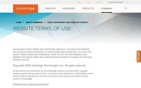 Lionbridge Website Terms of Use