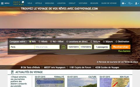 Screenshot of Home Page easyvoyage.com - Comparateur de voyage et de vols - Easyvoyage - captured July 3, 2015