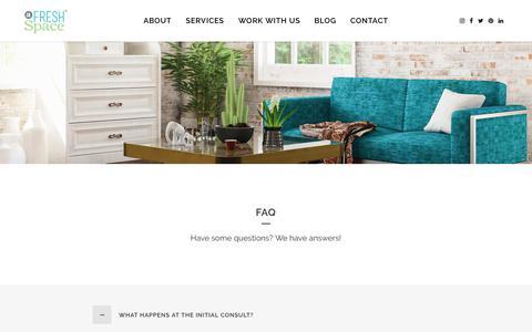 Screenshot of FAQ Page afreshspace.com - Organizing Services FAQ | a fresh space - captured Oct. 4, 2018