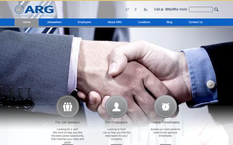 Screenshot of Home Page argfinancialstaffing.com - ARG | StaffSource - captured June 18, 2015