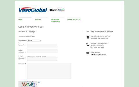 Screenshot of Contact Page vasoglobal.com - Vasomedical, Inc. | A Global Leader in Non-Invasive Healthcare - captured Feb. 3, 2018