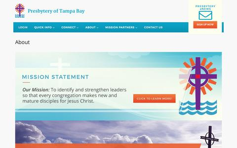 Screenshot of About Page presbyteryoftampabay.com - About | Presbytery of Tampa Bay - captured Dec. 8, 2018