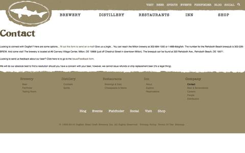Screenshot of Contact Page dogfish.com - Contact | Dogfish Head Craft Brewed Ales | Off Centered Stuff For Off Centered People - captured Sept. 6, 2016