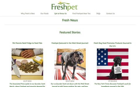 Screenshot of Press Page freshpet.com - Freshpet News | The latest, commercials, interviews, and articles on Freshpet - captured Sept. 19, 2014
