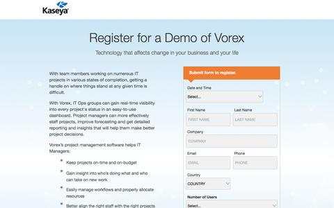 Screenshot of Landing Page kaseya.com - Register for a Demo of Vorex - captured May 10, 2017