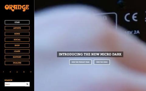 Screenshot of Home Page orangeamps.com - Orange Amplification   British Guitar Amps, Bass Amps, Valve guitar, Combos, - captured Oct. 1, 2015