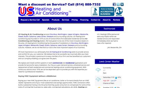 Screenshot of About Page usheating.com - About Us | US Heating and Air Conditioning - captured Nov. 19, 2016