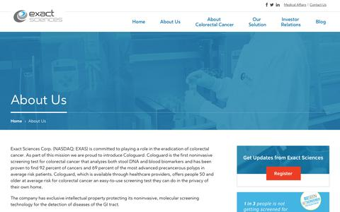 Screenshot of About Page exactsciences.com - About Exact Sciences - captured Sept. 16, 2014