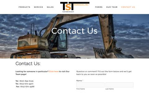 Screenshot of Contact Page tsthydraulics.com - Contact Us — TST Hydraulics - captured Nov. 3, 2017