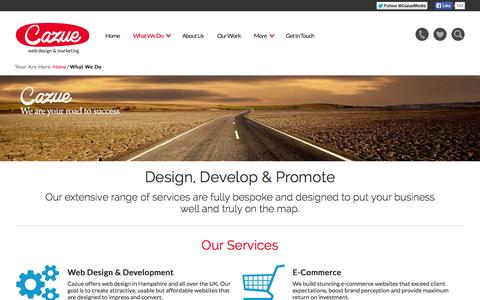 Screenshot of Services Page cazue.com - Web Design, E-Commerce, Mobile Apps, SEO & Marketing Hampshire - captured Sept. 19, 2014