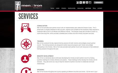 Screenshot of Services Page menofiron.ws - Services - Men of Iron - captured Oct. 29, 2014