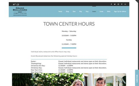 Screenshot of Hours Page grandboulevard.com - Hours - Grand Boulevard Sandestin | Shopping | Restaurants | Movie Theater | Hotel | Office Space - captured Sept. 30, 2018