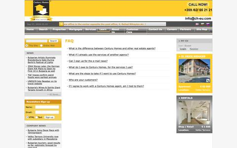 Screenshot of FAQ Page ch-eu.com - Century Homes, Property Veliko Tarnovo, Bulgaria property in Veliko Tarnovo. Real Estate Agency for properties in Bulgaria, houses, apartments and commercial - captured Sept. 27, 2018