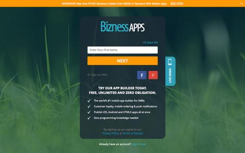 Screenshot of Signup Page biznessapps.com - Bizness Apps - Create a mobile app in 5 easy steps! - captured Nov. 14, 2015