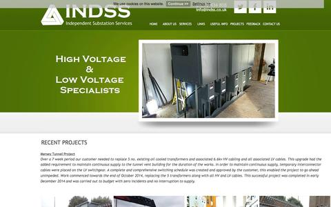 Screenshot of Case Studies Page indss.co.uk - Recent Projects : Independent Substation Services Ltd - captured Feb. 10, 2016
