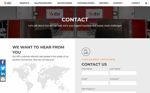 Screenshot of Contact Page dsiglobal.com - Contact Us Online - Customer Support & More — DSI - captured July 27, 2018