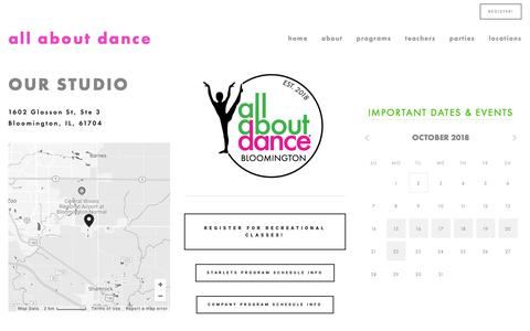 Screenshot of Locations Page allaboutdance.org - BN — All About Dance - captured Oct. 2, 2018