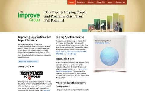 Screenshot of Home Page theimprovegroup.com - The Improve Group | Research, Evaluation, Planning, Coaching - captured Oct. 7, 2014