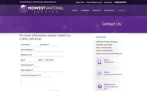Screenshot of Contact Page Locations Page midwestjanitorialservice.com - Contact Us-Janitorial Service, Commercial Cleaning, Carpet Cleaning, Building Maintenance, Floor Care - captured Feb. 27, 2016