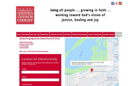 Screenshot of Contact Page sanibelucc.org - Sanibel Congregational UCC - Contact Us - captured Oct. 2, 2018