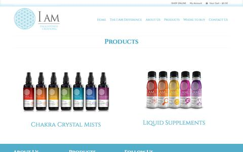 Screenshot of Products Page thinkiam.com - Products - I AM Enlightened Creations - captured Sept. 30, 2018