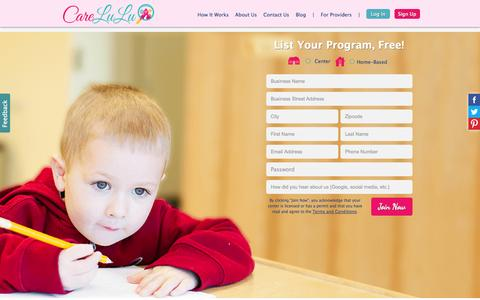 Screenshot of Signup Page carelulu.com - Daycare Sign-Up - CareLuLu - captured Sept. 19, 2014